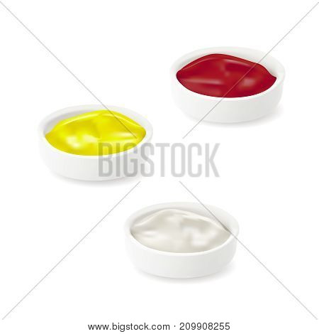 Set Realistic Detailed Sauces in Plate. Ketchup, Cheesy Mustard, Mayonnaise, Vector illustration of Sause