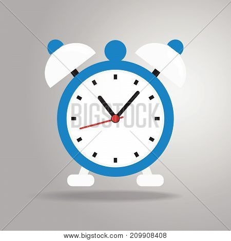 Alarm clock icon flat style on gray background vector illustration