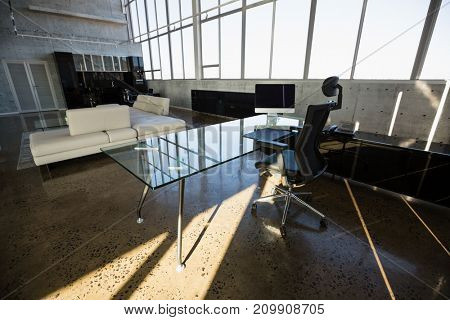 Interior of modern creative office during sunny day