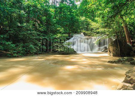 Erawan waterfall in the rainy season with turbid water