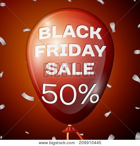 Realistic Shiny Red Balloon with text Black Friday Sale Fifty percent for discount over red background. Black Friday balloon concept for your business template. Vector illustration