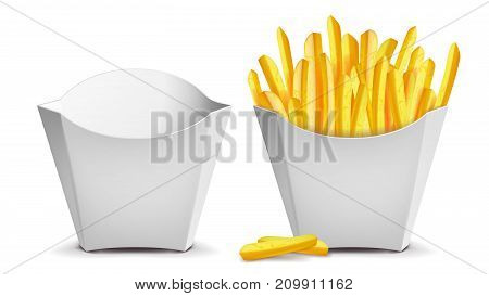 French Fries Vector. White Empty Blank Paper Bag. Fast Food Icons Potato. Empty And Full. Isolated