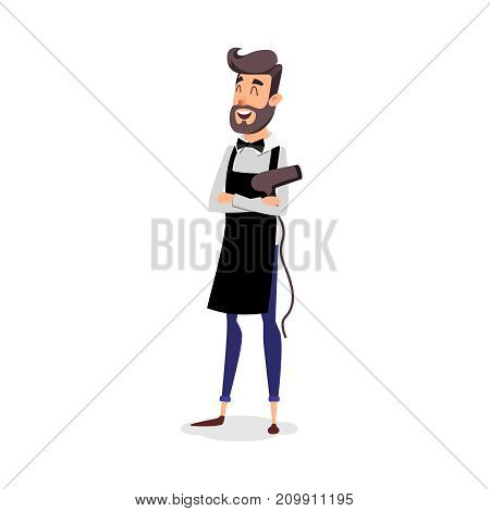 Cartoon successful hairdresser in an apron with a hair dryer in hand. Young A stylish hairdresser with a beard. Professional fashion stilist smiling on a white background poster