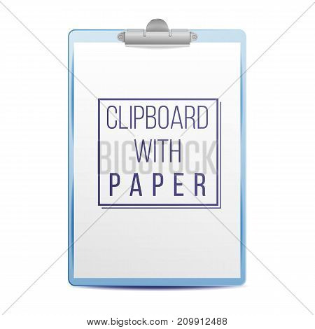 Clipboard With Paper Vector. Blank Sheet Of Paper. Mock up For Your Design. A4 Size. Isolated Illustration