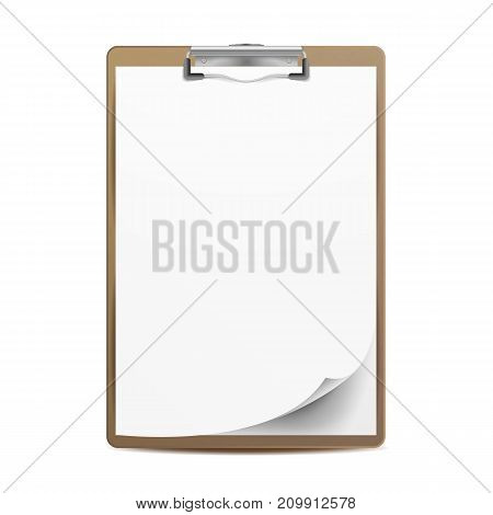 Realistic Clipboard Vector. A4 Size. Top View. Isolated On White Illustration