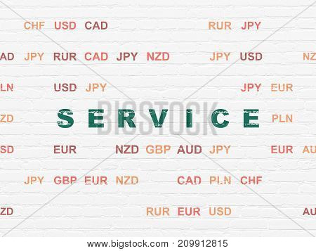 Business concept: Painted green text Service on White Brick wall background with Currency