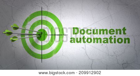 Success finance concept: arrows hitting the center of target, Green Document Automation on wall background, 3D rendering