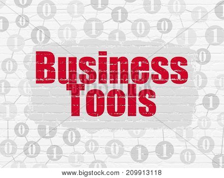 Finance concept: Painted red text Business Tools on White Brick wall background with Scheme Of Binary Code
