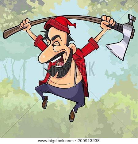 cartoon happy lumberjack with an axe jumps in the woods