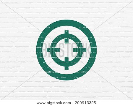 Business concept: Painted green Target icon on White Brick wall background