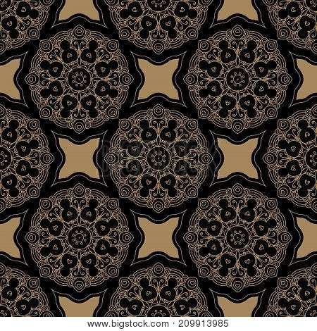 Abstract gold seamless pattern on black background. Hand drawn vector illustration