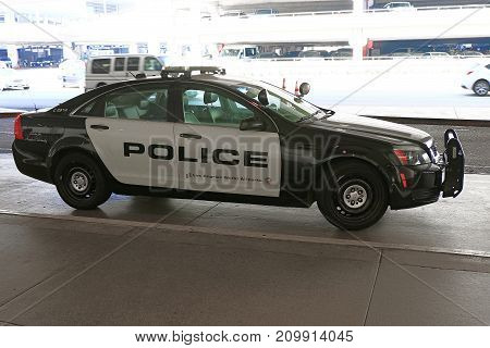 Los Angeles, CA - October 06, 2017: LAX Police car parked in front of a LAX. In 2017.
