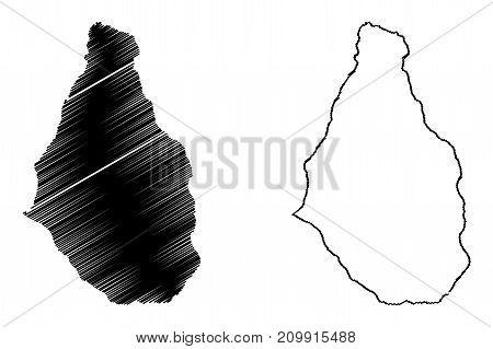 Montserrat island map vector illustration , scribble sketch Montserrat