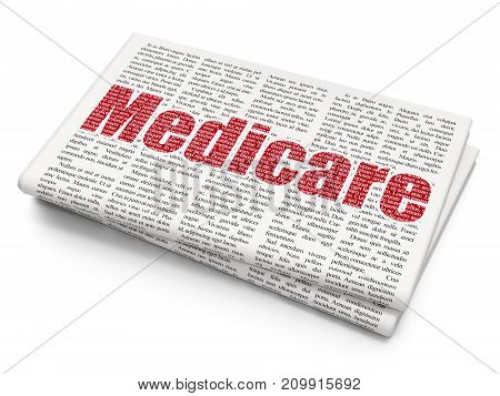 Medicine concept: Pixelated red text Medicare on Newspaper background, 3D rendering