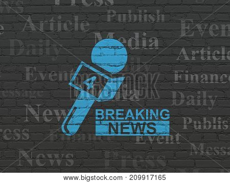 News concept: Painted blue Breaking News And Microphone icon on Black Brick wall background with  Tag Cloud