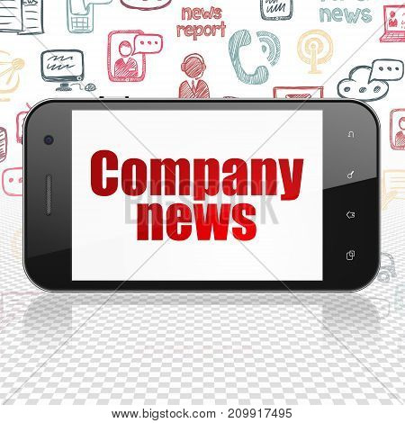 News concept: Smartphone with  red text Company News on display,  Hand Drawn News Icons background, 3D rendering