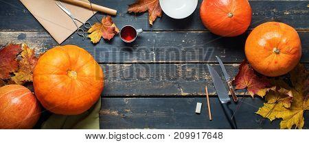 Pumpkin Knife Bowl Pencil Object On Black Planks