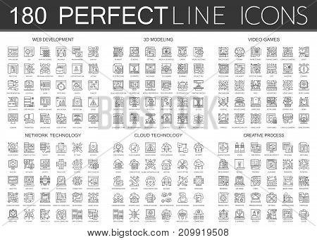 180 outline mini concept infographic symbol icons of web development, 3d modeling, video games, network technology, cloud technology, creative process isolated.