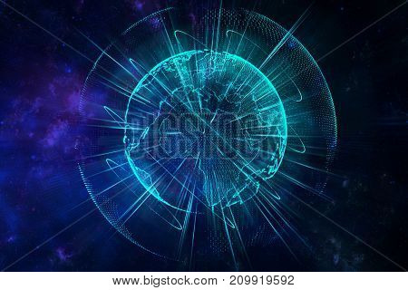 Abstract glowing blue polygonal globe background. Science global business concept. 3D Rendering