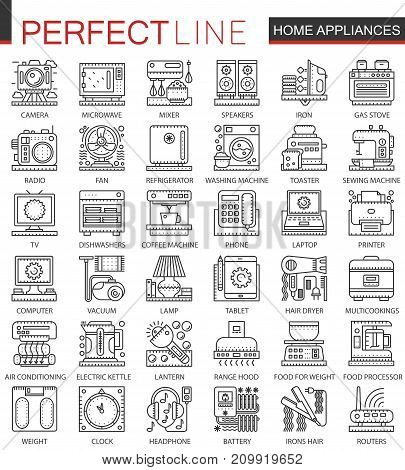 Household appliances outline mini concept symbols. Home appliances modern stroke linear style illustrations set. Perfect thin line icons