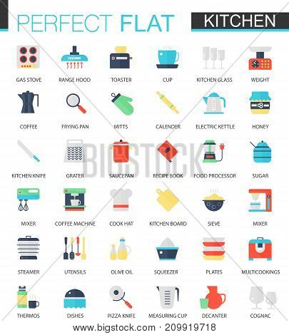 Vector set of flat Kitchen icons isolated