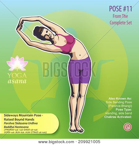 Illustration of Yoga Exercises with full text description names and symbols of the involved chakras. Female figure showing the position of the body posture or asana in standing position.