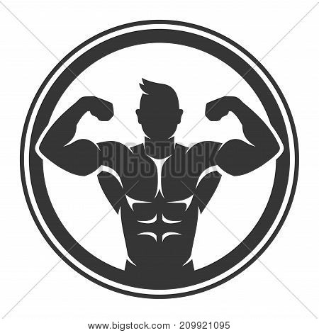 Bodybuilder Logo Icon on White Background. Vector illustration