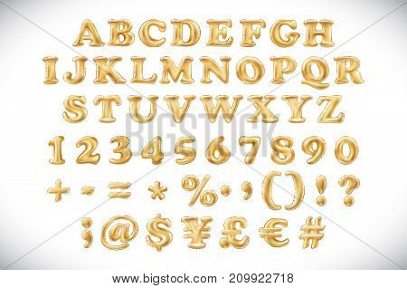 English Alphabet And Numerals From Yellow Golden Balloons On A White Background. Holidays And Educat