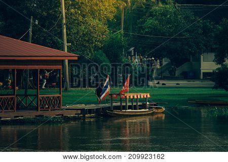 Traditional houseboat thai style at Sakae Krang River Uthai Thani Province Thailand