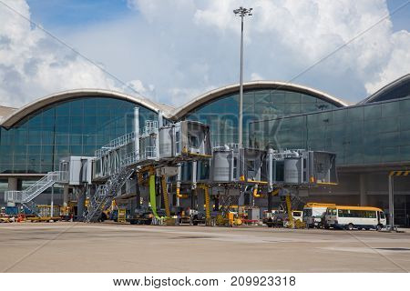 Hong Kong - October 02:  Planes preparing for take off at Hong Kong Airport on October 2, 2017 in Hong Kong Hong Kong airport is home port for Cathay Pacific and one of the biggest world hubs.