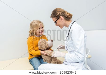 Doctor Doing Injection For Teddy Bear
