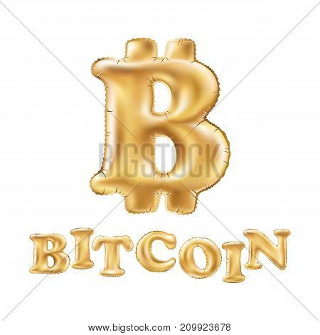 Bitcoin Crypto Currency Blockchain Balloon Gold Logo. Block Chain Sticker For Web Or Print Vector