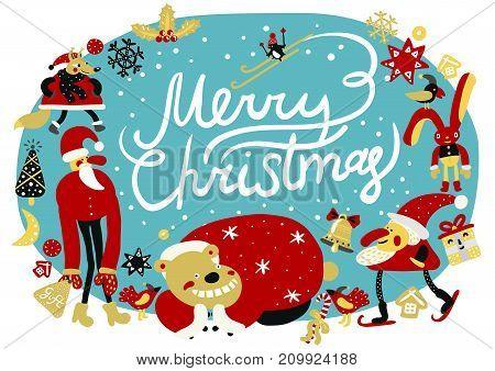 Merry christmas composition with  holiday symbols and decoration, santa and animals, snowfall on blue background vector illustration