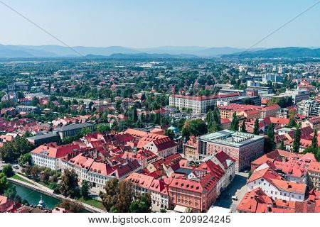 Slovenia, Ljubljana - panoramic view from the top of The Ljubljana Castle. Summer noon sun photo