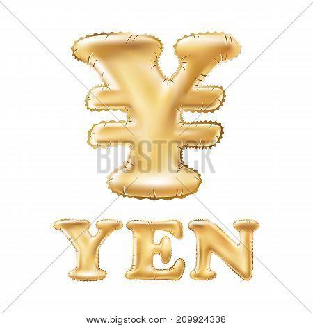 Vector Balloon Symbol Of Yen Or Yuan. Realistic 3D Isolated Gold Helium Balloon Abc Alphabet Golden