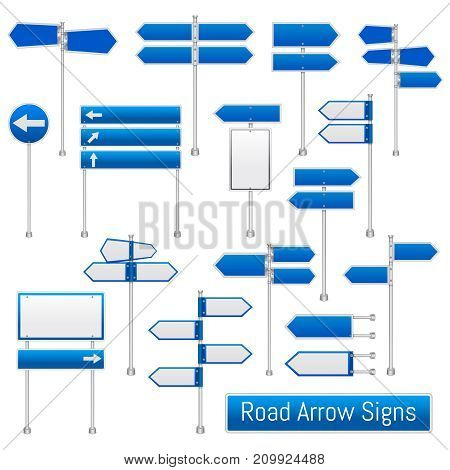Blue arrow road signs signals realistic traffic regulation  roadsigns collection indicating direction for drivers isolated vector illustration