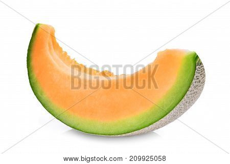 slice of japanese melons green melon or cantaloupe melon with seeds isolated on white background