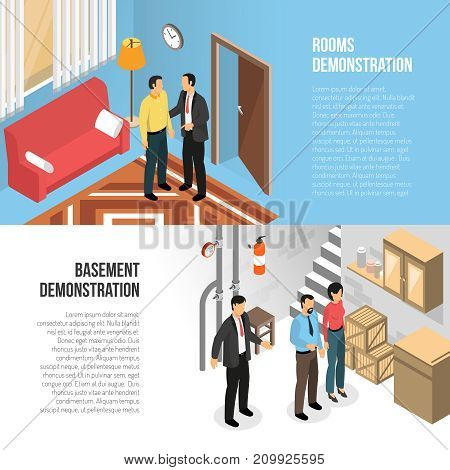 Real estate agency horizontal banners  with buyers and realtor demonstrating  rooms and basement isometric vector illustration