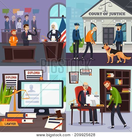 Law and justice orthogonal flat design concept with courtroom, policemen and suspected, lawyers office isolated vector illustration