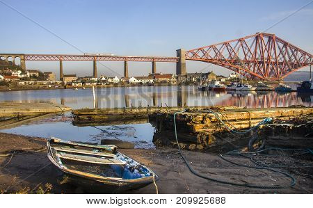 The Forth Rail Bridge seen from North Queensferry Fife harbour Scotland