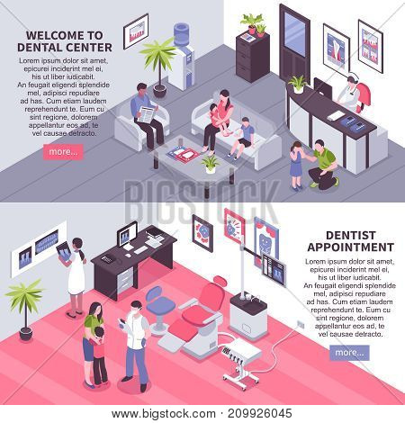 Welcome to dental center and dentist appointment isometric horizontal banners with patients in doctors office vector illustration