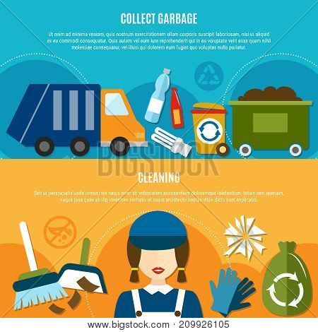 Garbage horizontal banners set with flat doodle style images of sanitation truck recycle bins and cleaning equipment vector illustration