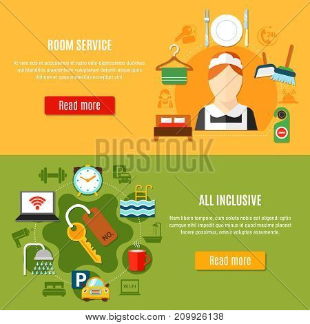 Two banners on hotel theme with room service and all inclusive  design compositions flat vector illustration