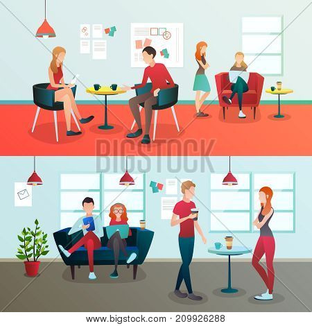 Creative team coworking people gradient flat compositions with doodle style human characters and indoor office environment vector illustration