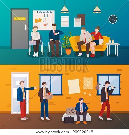 Set of two horizontal unemployed people flat compositions with human characters in interviewing room and outdoors vector illustration