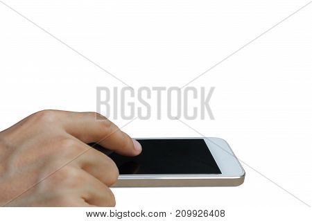 Businessman use smartphone with blank screen on white background.