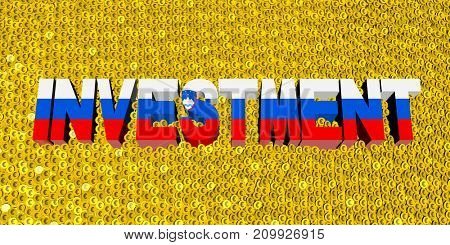 Investment text with Slovakian flag on coins 3d illustration