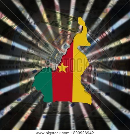 Cameroon map flag on currency burst 3d illustration