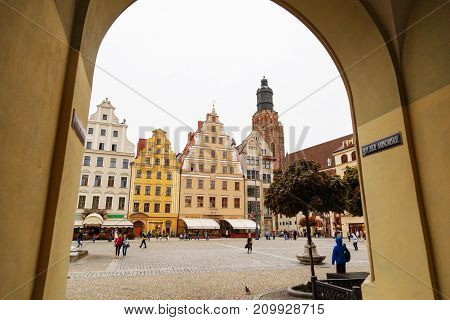 Wroclaw, Poland- September 14, 2017: cityscape of old town Market Square with colorful historical buildings