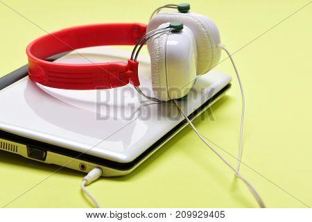 Sound Recording Idea. Electronics Isolated On Light Yellow Background